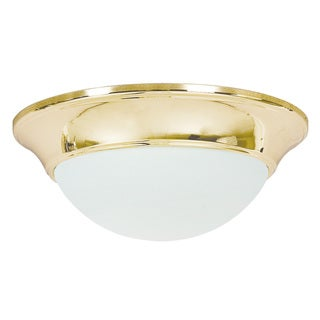 Satin Opal 2-light Polished Brass Flush Mount