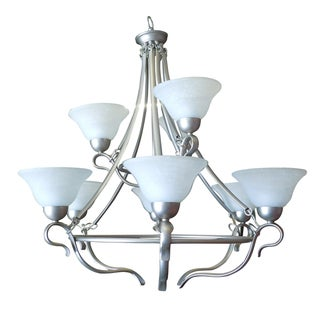 Nine Light Satin Nickel Chandelier