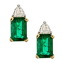 D'yach 18k Yellow Gold Zambian Emerald and 1/5ct Diamond Studs (G-H,I1-I2)