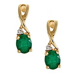 D'yach 14k Yellow Gold Zambian Emeralds and Diamond Accent Earring (G-H, I1-I2)