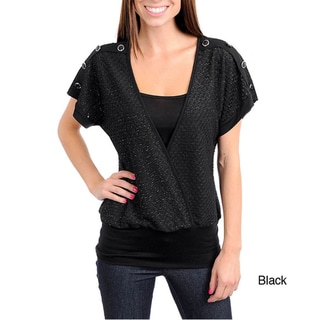 Stanzino Women's V-neck Top with Button Detailed Shoulder
