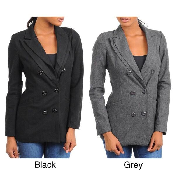 Stanzino Women's Wool Blazer Jacket with Double Lapel Detail