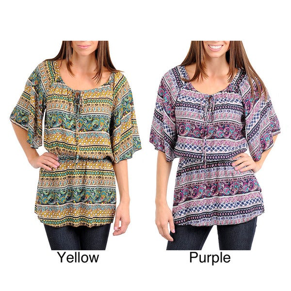 Stanzino Women's Paisley Print Top with Cinched Waist and Drawstring Neckline