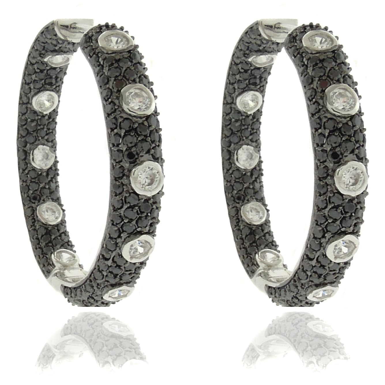 Dolce Giavonna Silver Overlay Cubic Zirconia Black and White Hoop Earrings