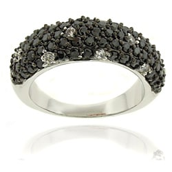 Dolce Giavonna Silver Overlay Cubic Zirconia Black and White Dotted Ring