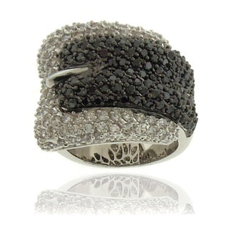 Dolce Giavonna Silverplated Cubic Zirconia Black and White Buckle Ring