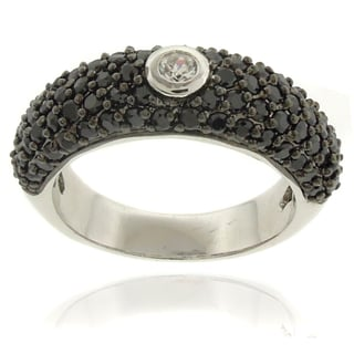 Dolce Giavonna Silver Overlay Cubic Zirconia Black and White Ring