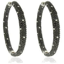 Dolce Giavonna Silver Overlay Cubic Zirconia Black and White Dotted Hoop Earrings