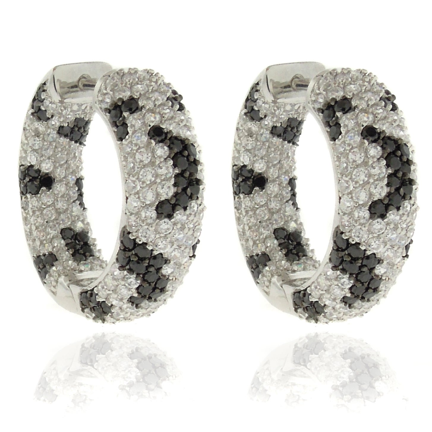 Dolce Giavonna Silverplated Cubic Zirconia Python Print Hoop Earrings