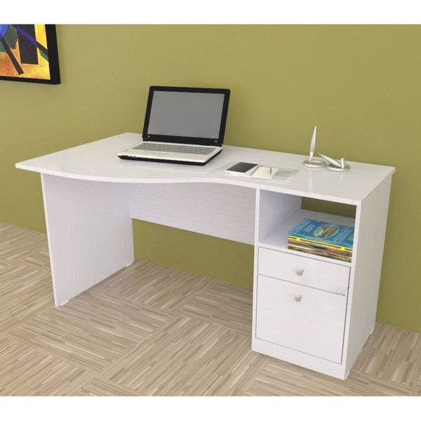 Inval Larcinia White Modern Curved Top Desk Overstock