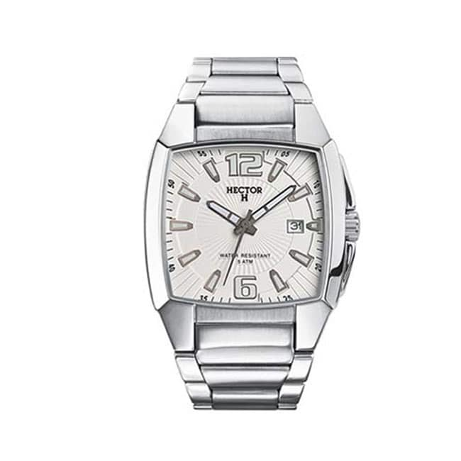 Hector H France Mens Classic Silver Dial Stainless Steel Date Watch