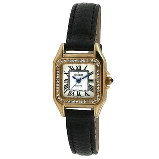 Peugeot Women's Black Leather Crystal Watch
