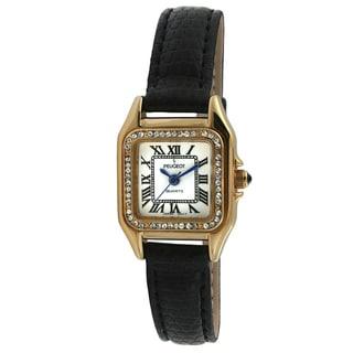 Peugeot Women's Black Leather Crystal Watch