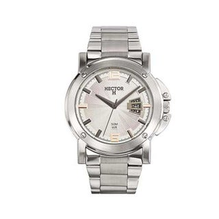 Hector H France Men's Classic Silver Dial Stainless Steel Date Watch