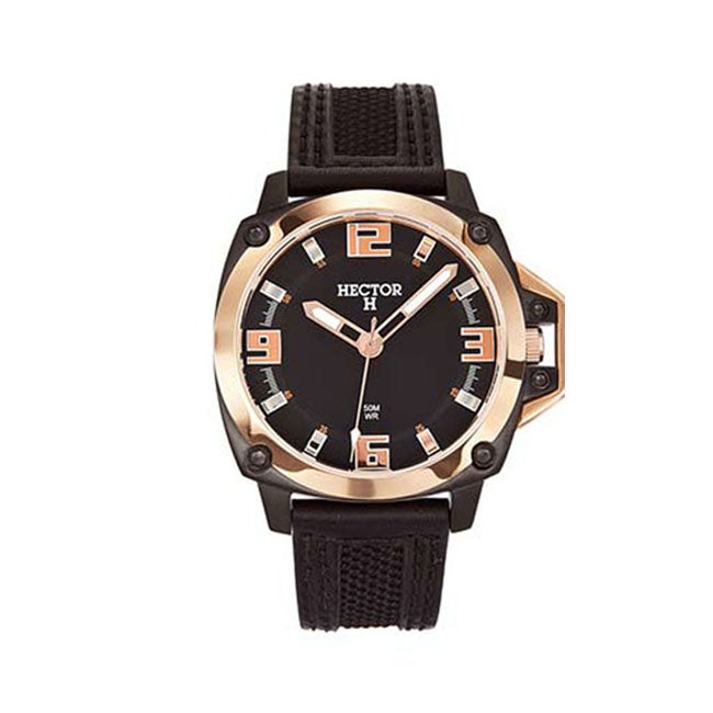 Hector H France Men's Black Dial Leather Strap goldtone Bezel Watch
