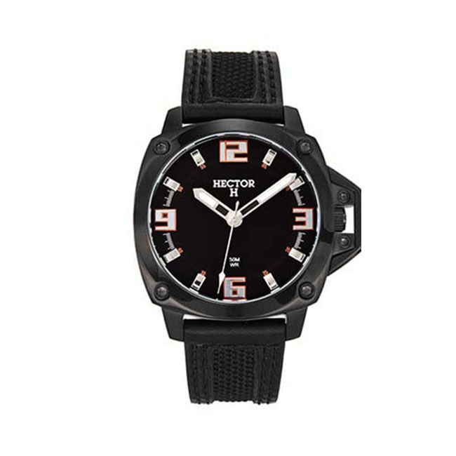 Hector H France Men's Analog Black Dial Leather Strap Sport Watch