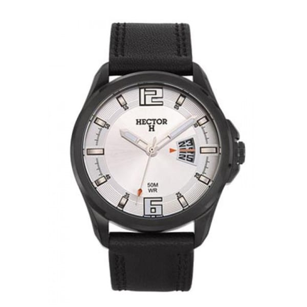 Hector France Men's Classic Silver Dial Black Leather Date Watch