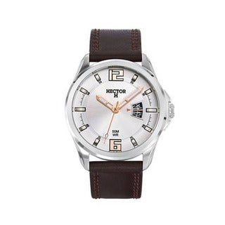 Hector H France Men's Classic Silver Dial Brown Leather Date Watch