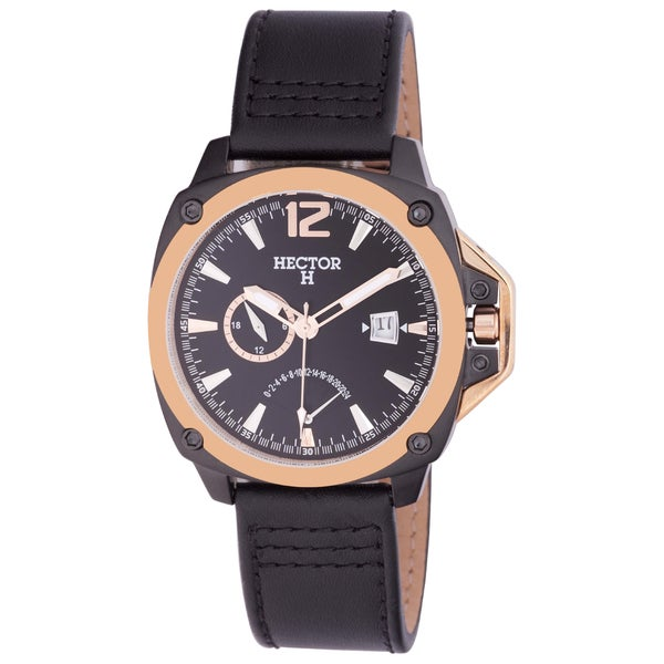 Hector H Men's Goldtone Black Leather Date Watch