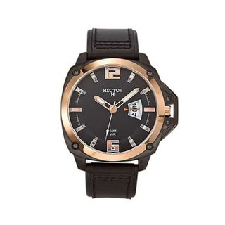 Hector H France Men's Round Black Dial Leather Strap Date Watch