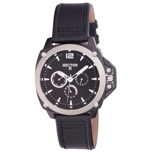 Hector H Men's Black Leather Date Watch