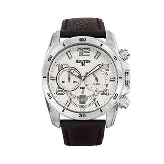 Hector H France Men's White Dial Black Leather Chronograph Date Watch