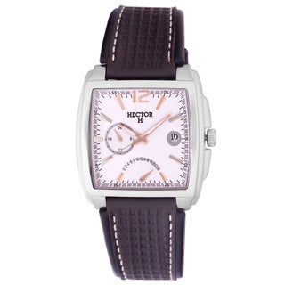 Hector H Men's Classic Square Black Leather Date Watch