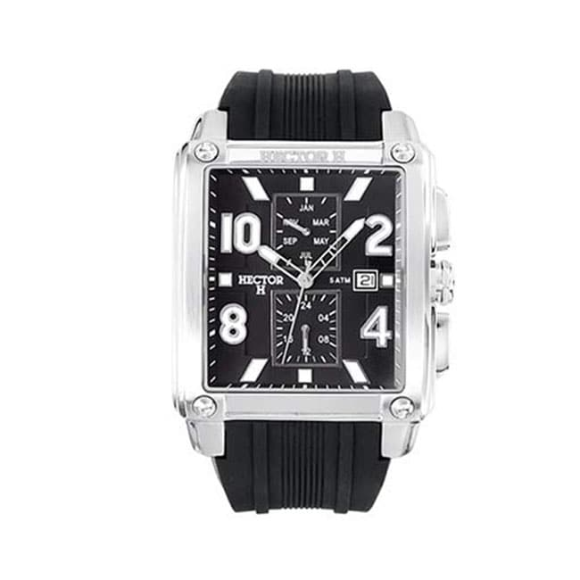 Hector H France Men's Classic Rectangular Black Dial Chronograph Date Watch