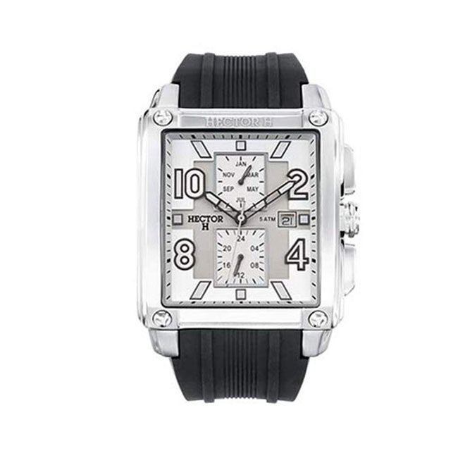 Hector H France Men's Classic Rectangular White Dial Chronograph Date Watch