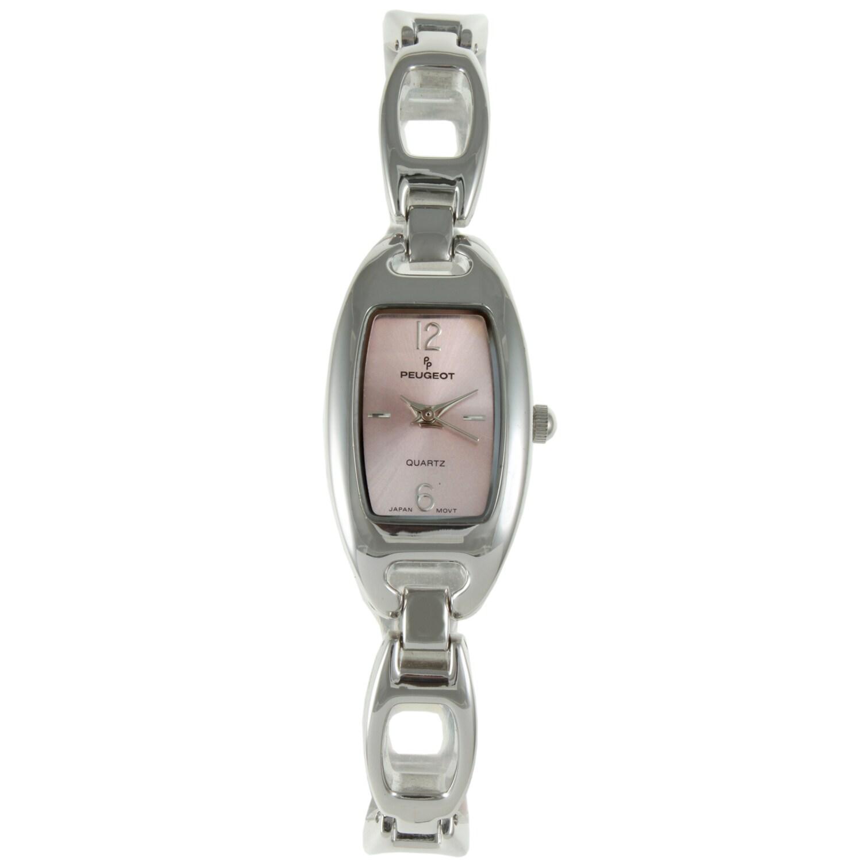 Peugeot Women's Pink-Dial Silvertone Bracelet Watch