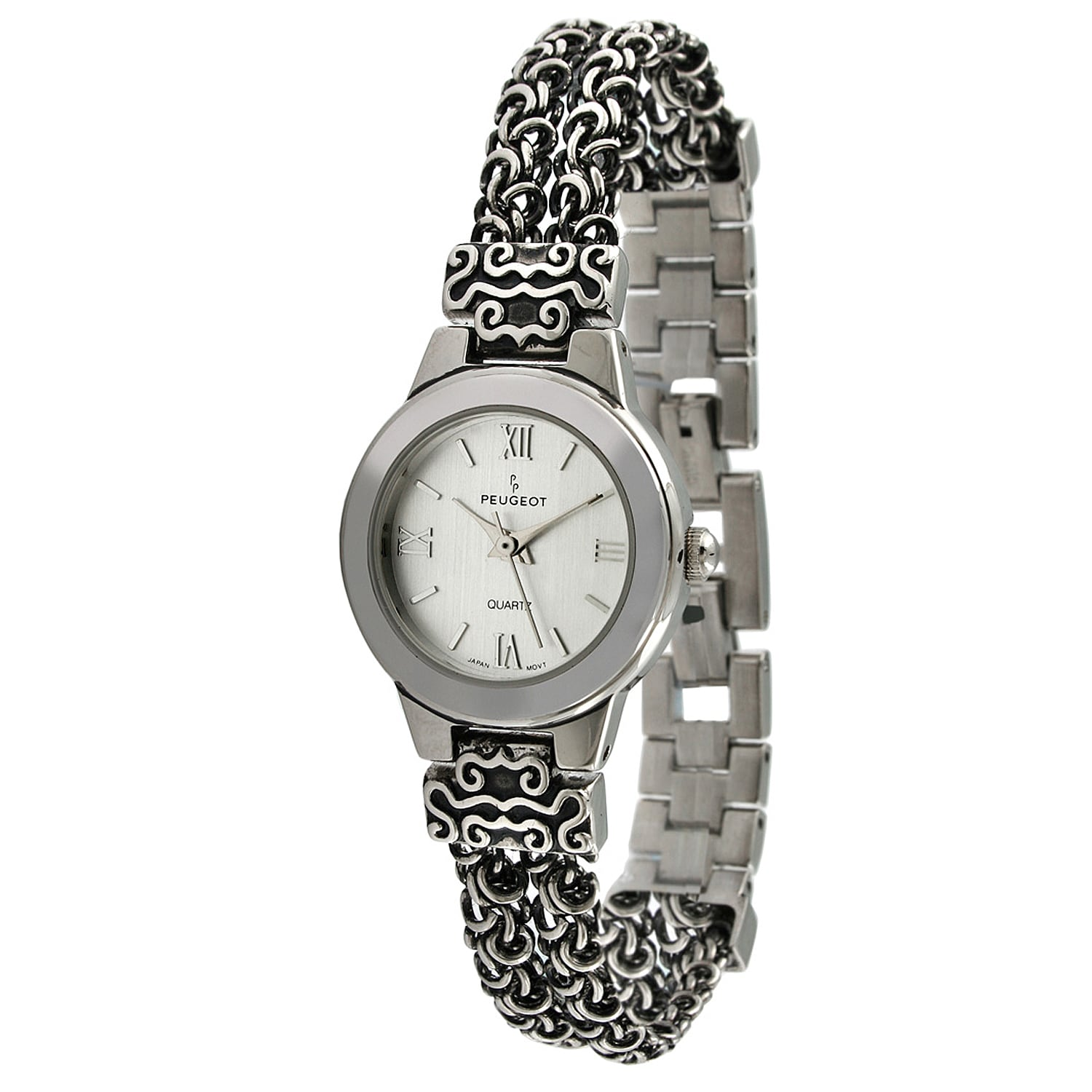 Peugeot Women's Antique Silvertone Chain Watch