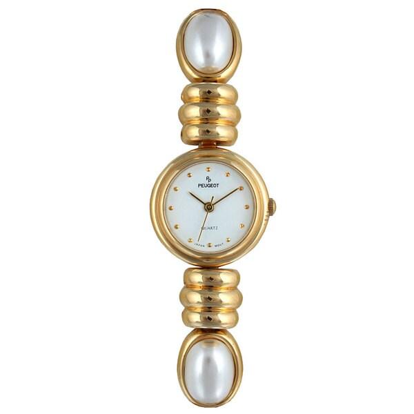 Peugeot Women's Goldtone and Pearl Bracelet Watch
