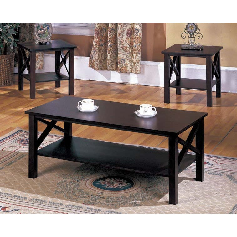 Overstock.com K&B 3-piece Merlot Finish Cocktail End Tables Set at Sears.com