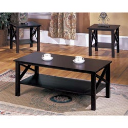 K&B 3-piece Merlot Finish Cocktail End Tables Set