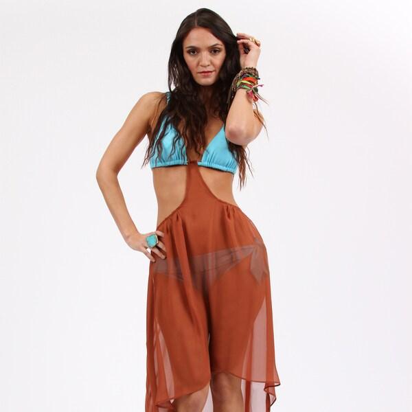 Amorroma Women's Sheer Copper Chiffon Snap Cover-up Skirt