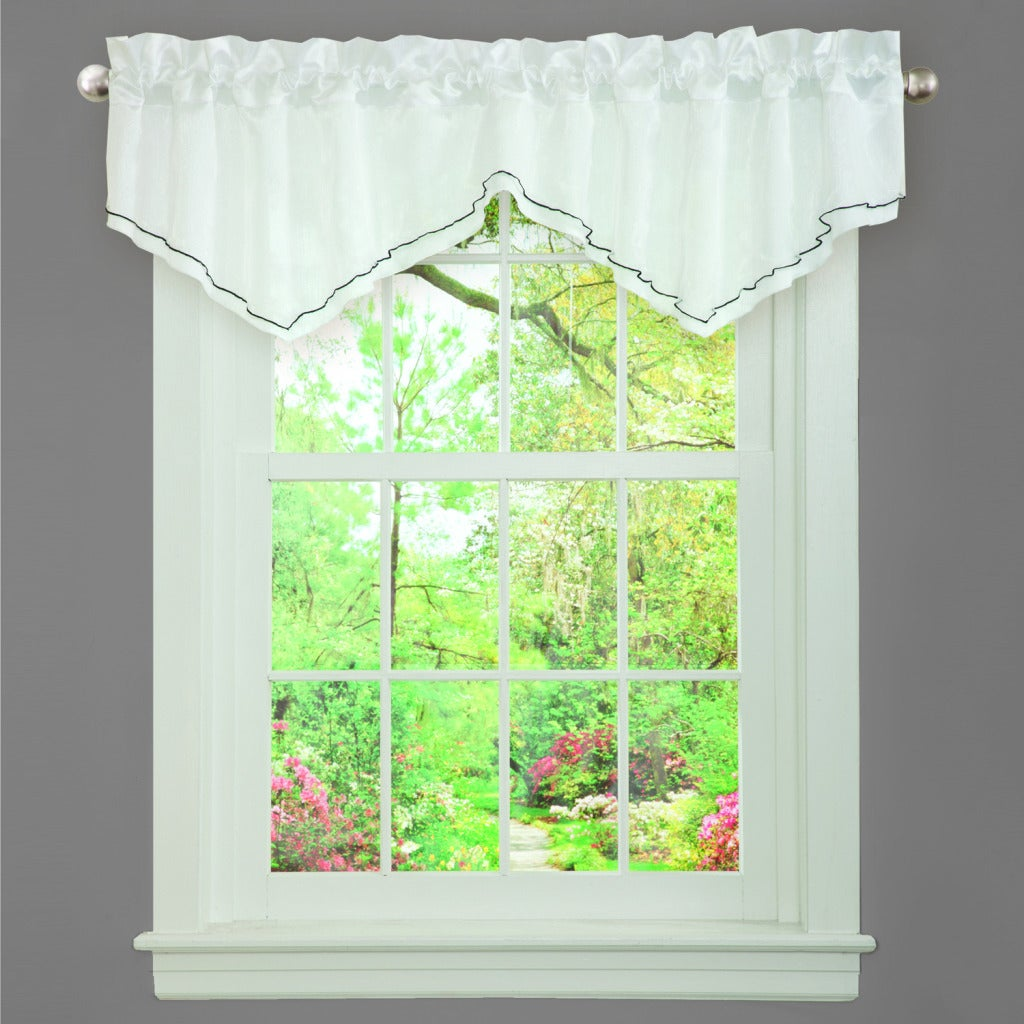 L'Amour Eternel Black/ White Faux Silk Romana Ruffle Window Valance at Sears.com