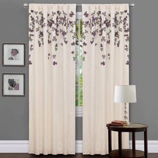 Lush Decor Ivory/ Purple Faux Silk 84-inch Flower Drop Curtain Panel