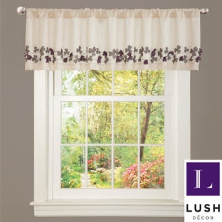 Ivory/ Purple Faux Silk Flower Drop Window Valance