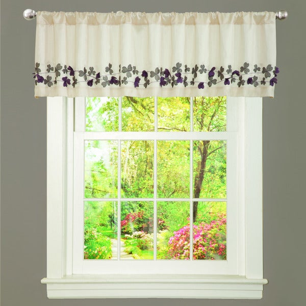 Lush Decor Ivory/ Purple Faux Silk Flower Drop Window Valance