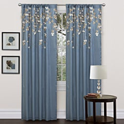 Blue Faux Silk 84-inch Flower Drop Curtain Panel