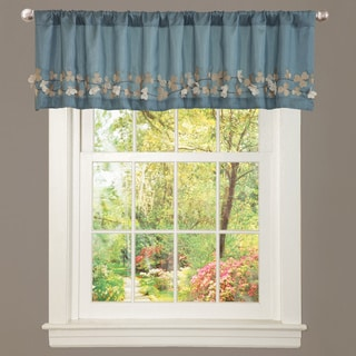 Blue Faux Silk Flower Drop Window Valance