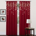 Red Faux Silk 84-inch Flower Drop Curtain Panel