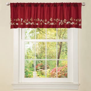 Red Faux Silk Flower Drop Window Valance