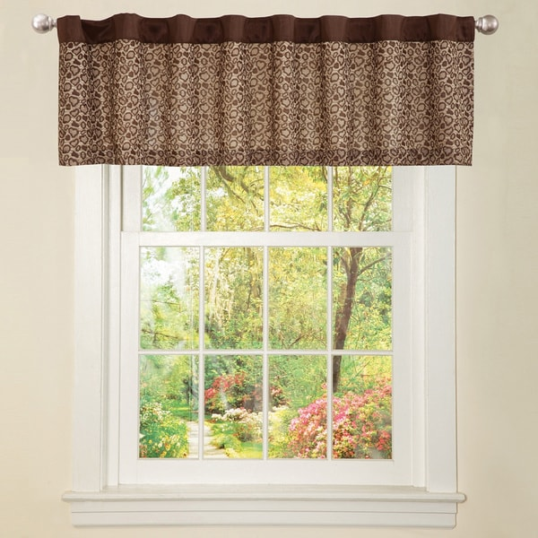 Lush Decor Brown Faux Silk Leopard Window Valance