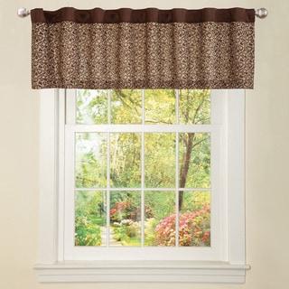 Brown Faux Silk Leopard Window Valance