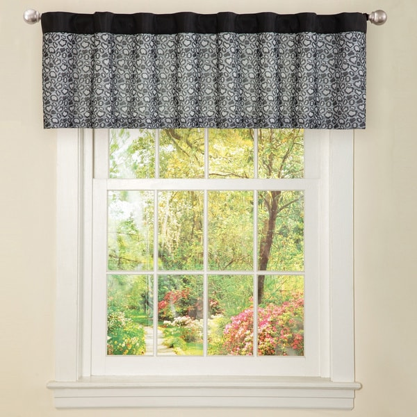 Black Faux Silk Leopard Window Valance