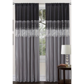 Black/Grey Faux Silk 84-inch Night Sky Curtain Panel