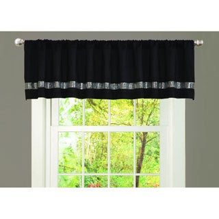Black/ Grey Faux Silk Night Sky Window Valance