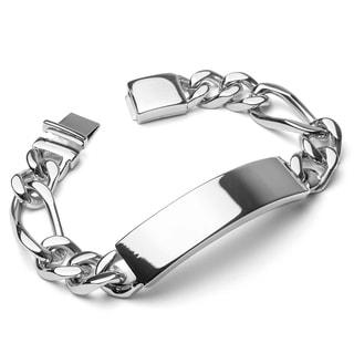 Crucible Stainless Steel Figaro Chain ID Bracelet