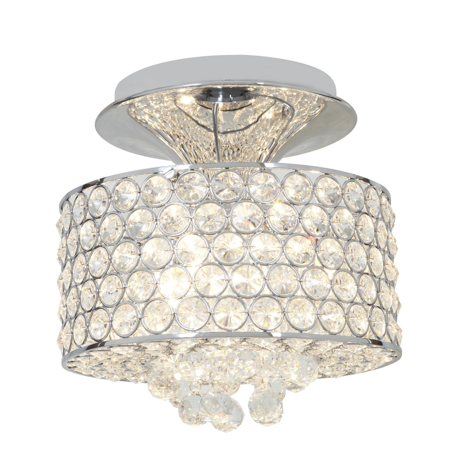 Access Kristal 3-light Chrome Semi-flush Drum Fixture